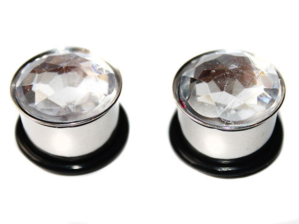 Clear Crystal Stainless Steel Plugs