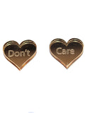 Gold DON'T CARE Stud Earrings - Feelin Peachy