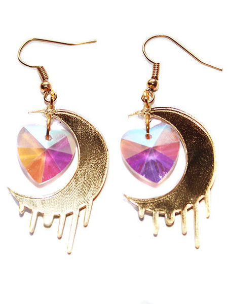 Crescent Moon & Star Dangle Earrings-18K Gold Plated