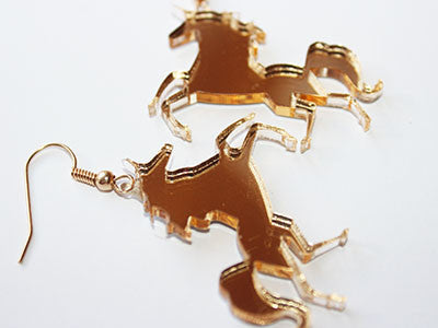 Gold Unicorn Dangle Earrings