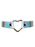Holographic Hologram Silver Leather Heart Choker - Feelin Peachy