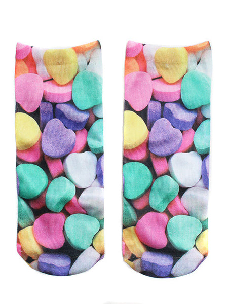 Candy Hearts Printed Socks