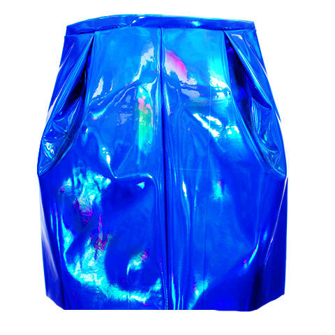 Holographic Royal Blue Pleated Pencil Skirt