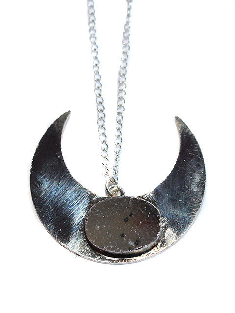 Silver Plated Druzy Half Moon Crescent Pendant Necklace