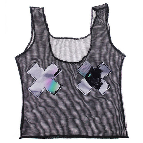 Black Mesh Holographic X Cropped Tank Top - Feelin Peachy