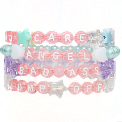 Cheeky Pink Letter Beaded Bracelets - Feelin Peachy