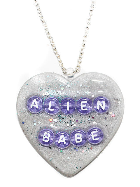 Alien Babe Heart Pendant Necklace - Feelin Peachy