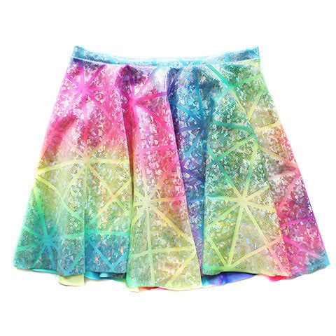 High Waist Rainbow Holographic Circle Skirt - Feelin Peachy
