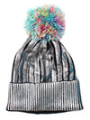 Metallic Rainbow Pom Beanie Hat - Feelin Peachy