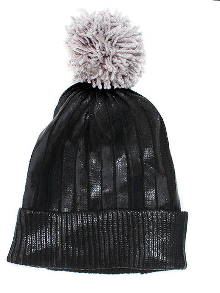 Black Metallic Pom Beanie Hat - Feelin Peachy