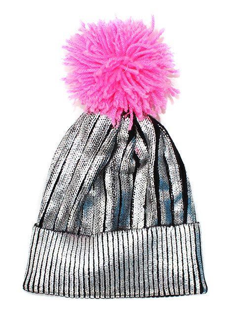 Metallic Pom Beanie Hat - Feelin Peachy
