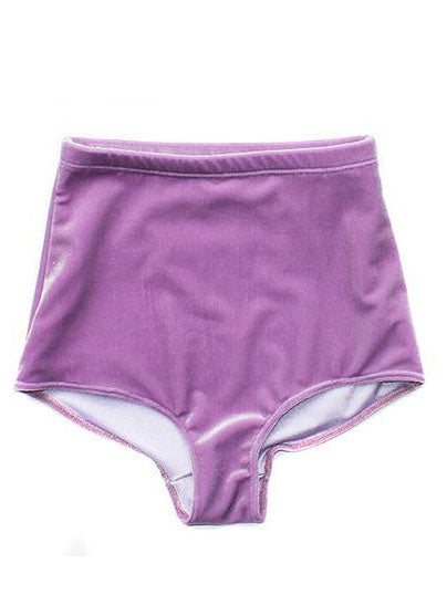Lavender Velvet High Wasit Bottoms - Feelin Peachy
