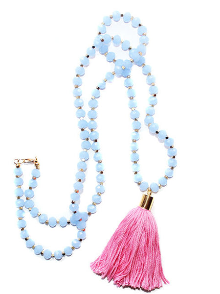 Powder Blue Long Beaded Crystal Tassel Necklace
