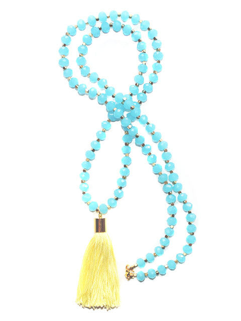 Turquoise Long Beaded Crystal Tassel Necklace