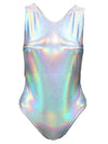 Silver Holographic One Piece Swimsuit
