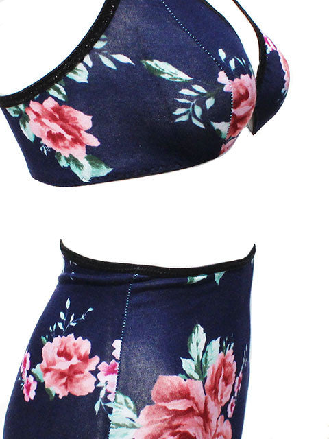 Knit Floral Triangle Bra & Panties