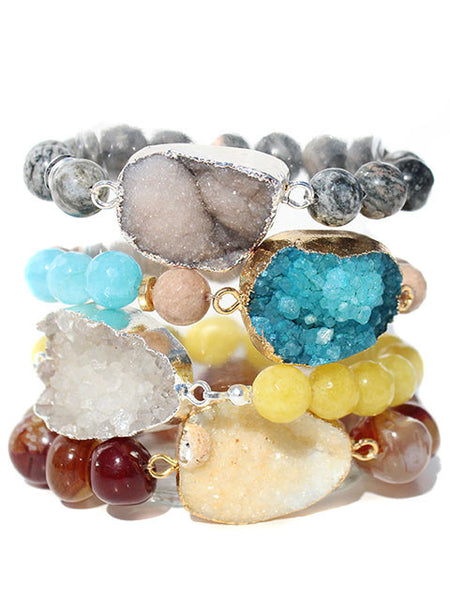 Druzy Gemstone Beaded Bracelet