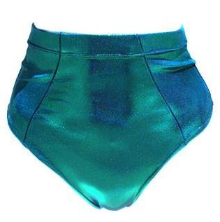 Bella Metallic Blue Swim High Waist Bottom - Feelin Peachy