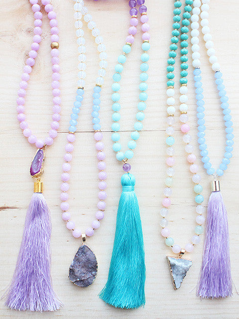 Pastel Spring Long Gemstone Beaded Necklace Tassel Druzy Pendant