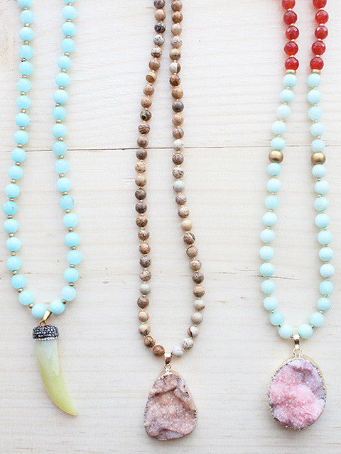 Pastel Spring Long Gemstone Beaded Necklace Pave Tusk Druzy Pendant