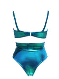 Bella Metallic Blue Swim Top - Feelin Peachy