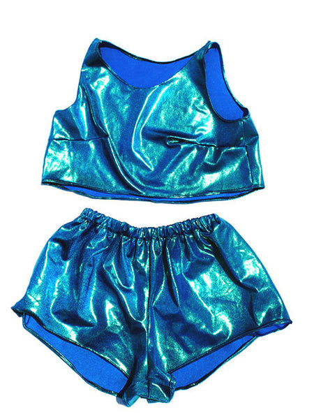 Cali Crop Top & High Waisted Shorts Set- Blue