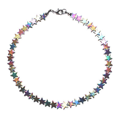 Star Rainbow Hematite Beaded Choker Necklace