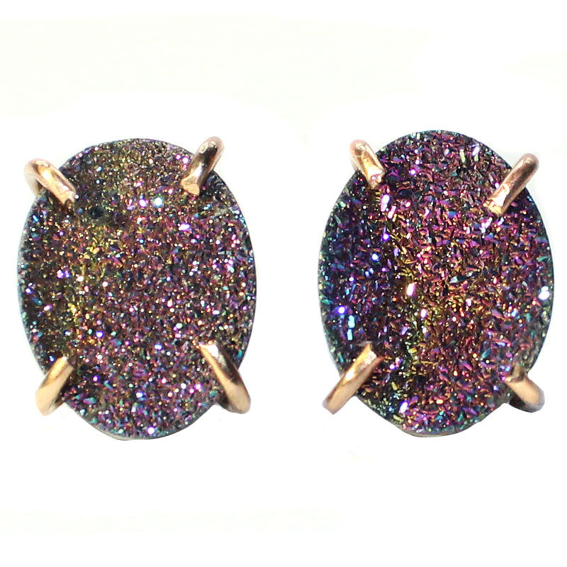 Gold Filled Rainbow Titanium Druzy Round Claw Prong Studs - Feelin Peachy