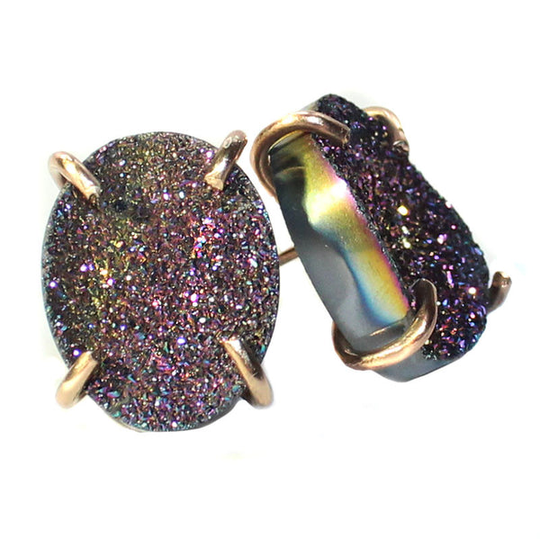 Gold Filled Rainbow Titanium Druzy Round Claw Prong Studs