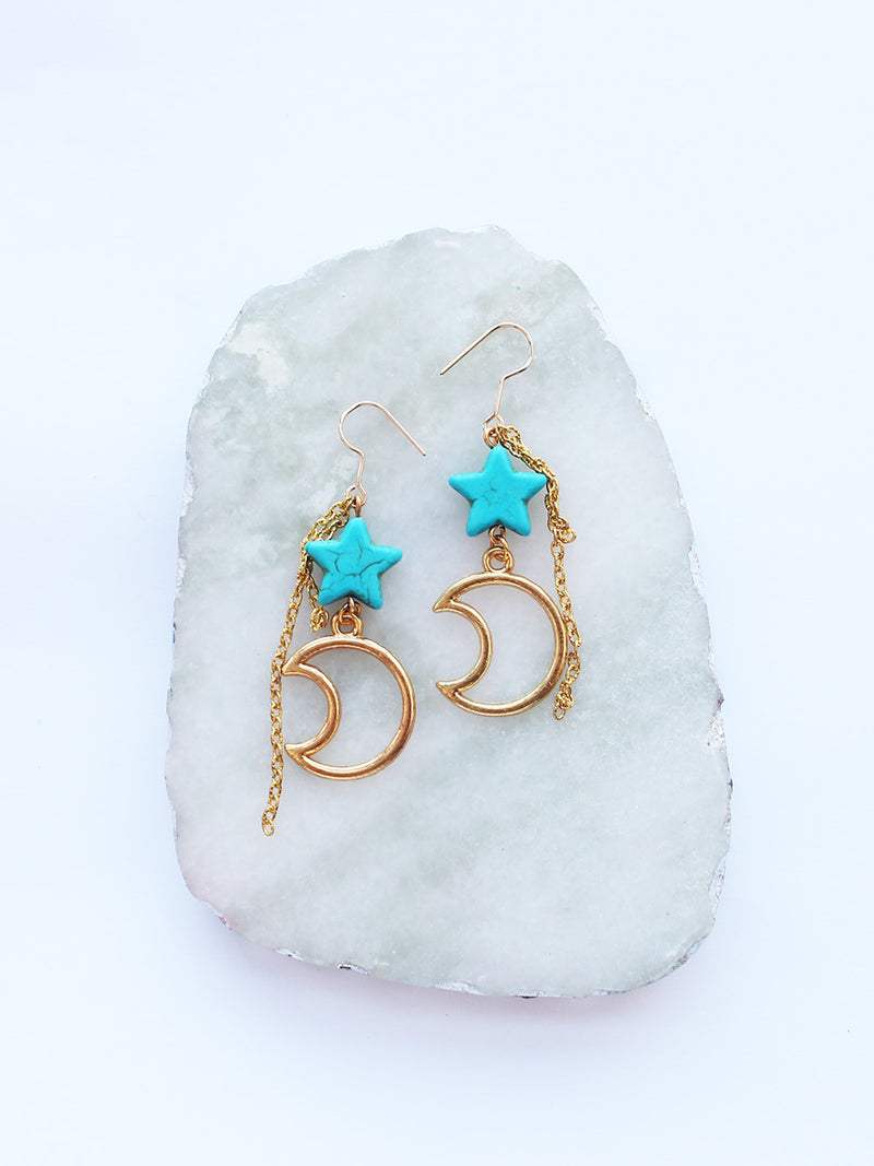 Tourquoise Crescent Moon Star Dangle Gold Earrings