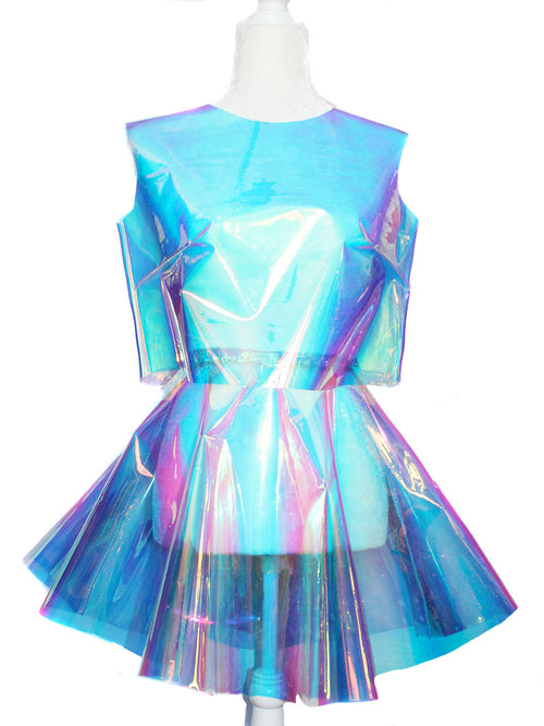 Clear Opal Holographic Crop Top and Circle Skirt Set - Feelin Peachy