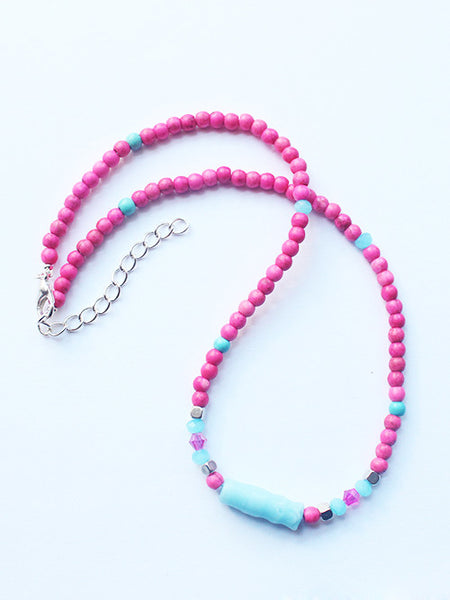 Hot Pink Stone Crystal Beaded Choker Necklace-Layering Necklace