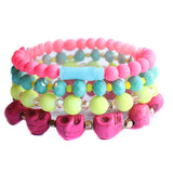 Neon Beaded Boho Colorful Bracelet Stack