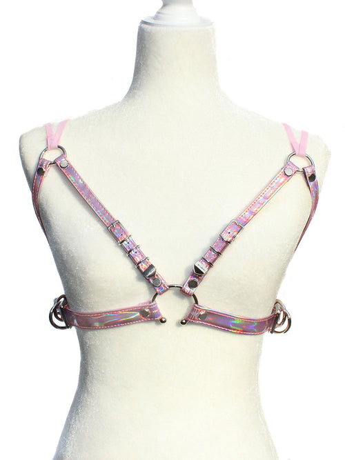 Rosel Holographic Bra Harness - Pink