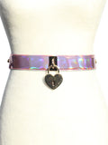 Rosel Holographic Heart Locket Belt Harness  - Pink