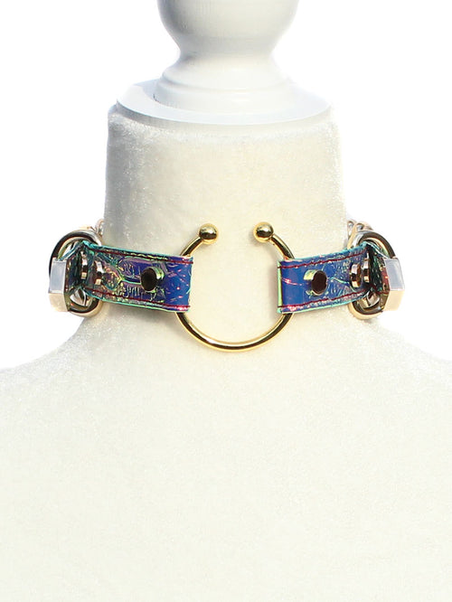 Siena Snake Holographic Choker Necklace - Purple