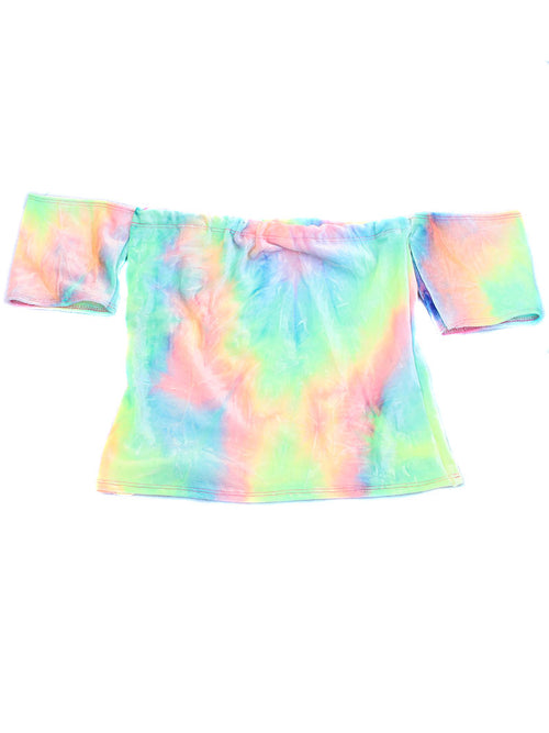 Summer Tie Dye Rainbow Velvet Off Shoulder Top