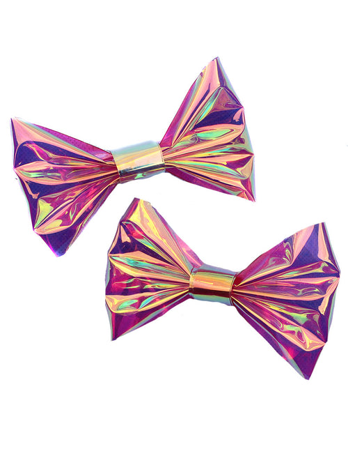 Clear Holographic Hair bow Clip Set - Feelin Peachy