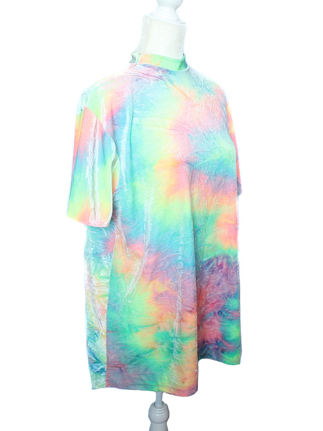 Summer Tie Dye Velvet T-Shirt Dress
