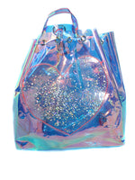 Glitter Heart Opal Holographic Drawstring Backpack - Feelin Peachy