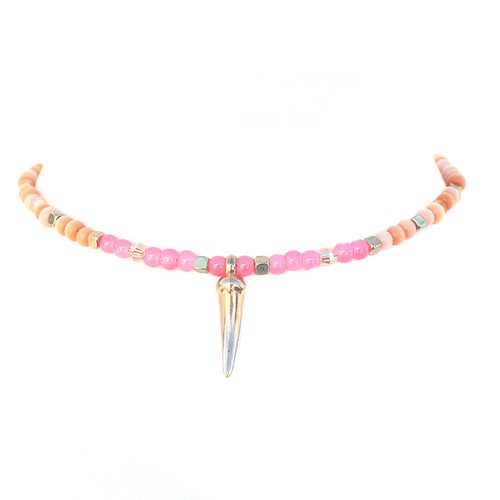 Pink & Cream Crystal Beaded Charm Choker Necklace