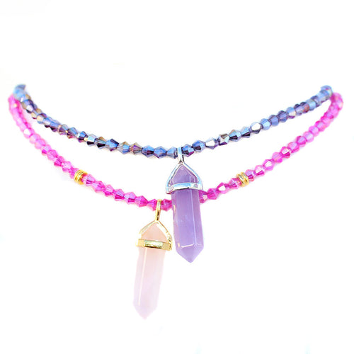 Rose Quartz + Amethyst Crystal Beaded Choker Necklace