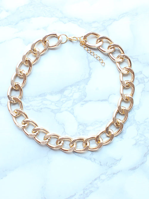 Chunky Gold Chain Choker Necklace - Feelin Peachy