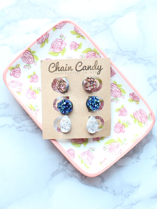 Original- Set of Druzy Stud earrings - Feelin Peachy