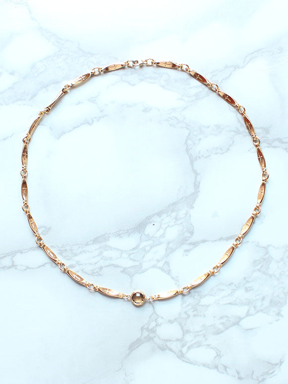 Gold Chain Cross Choker Necklace-14k Gold Filled - Feelin Peachy