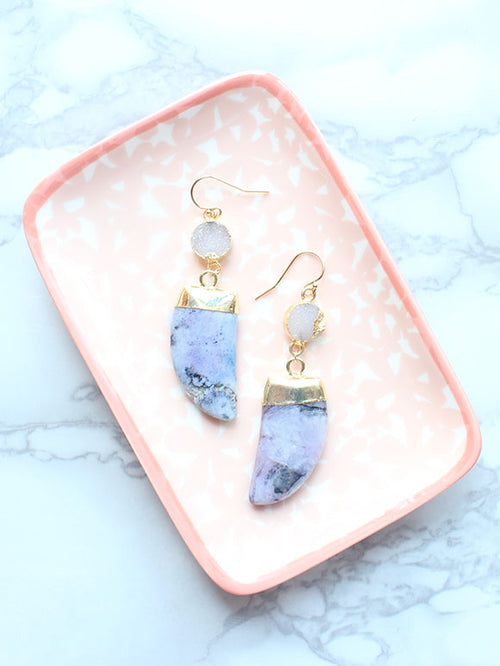 Lavender Druzy Tusk Drop Earrings-14k Gold Filled - Feelin Peachy