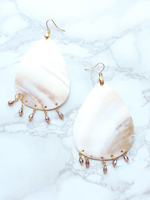 Seashell Beach Gold Drop Earrings