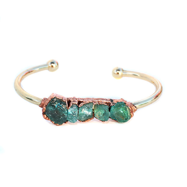 Raw Green Apatite Crystal Electroformed Gold Bangle Cuff Bracelet