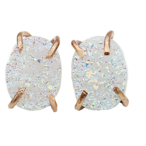 Gold Filled AB Angel Druzy Oval Claw Studs Earrings - Feelin Peachy