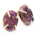 Titanium Purple Orange Druzy Oval Claw Prong Studs-Gold Filled